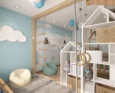 We're obsessed with the mini jungle gym in this kids room! A sure (and fun!) way for your little monkey to use up all his energy before heading to bed 🐒