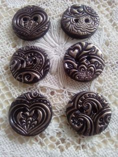 5 buttons Quilt Millefiori Polymer Clay Buttons