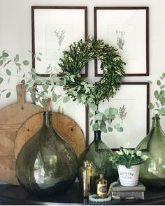 """2,914 Likes, 30 Comments - The Cottage Journal (@thecottagejournal) on Instagram: """"Green with envy. This nature-inspired vignette is full of vintage charm thanks to wine jugs and…"""""""