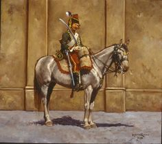 7th Hussars-Keith Rocco.  In an age of magnificent uniforms, and in an era marked by the birth of Romanticism, the hussar shown here stands as a perfect representation of the period - a mix of glamorous fashion combined with an attitude of impeccable honor and dashing, flamboyant conduct. Hussars became known for their blatant swagger, and they tended to be a hard-drinking, womanizing lot who found themselves engaged in frequent duels of honor both on and off the battlefield.