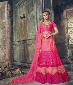 Pink Satin Designer Lehenga Choli - Pink Colour Pure Satin Fabric Blouse with embroidery. Lehenga Choli, Sari, Pink Color, Colour, Indian Bollywood, Pink Satin, Satin Fabric, Salwar Kameez, Wedding Designs