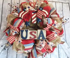 Hey, I found this really awesome Etsy listing at https://www.etsy.com/listing/182681701/patriotic-deco-mesh-wreath-4th-of-july