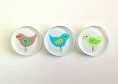 NEW Three Little Birds  Set of 3 Magnets by TannerGlass on Etsy