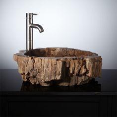 Petrified wood vessel sink