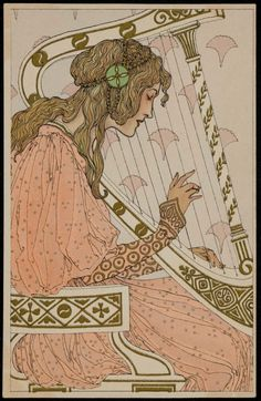 'Woman Playing a Harp.' Attributed to Mela Koehler (Austrian, 1885–1960). Postcard. Publisher Marcus Munk