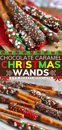 A sweet holiday treat for gift-giving, parties, and more! This fun recipe features pretzel rods dipped in caramel and chocolate. Decorated in sprinkles and candy, these wands are an easy and festive Christmas dessert! Plus, check out some ideas for the kids' table!