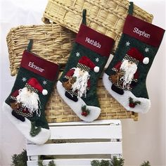 Personalised Christmas Stocking - Santa with Fluffy Beard. Embroidered Stocking from WowWee.ie | €13.99