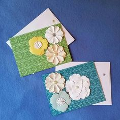 Two Colorful Damask Blank Cards with Flowers by designsbymisschris