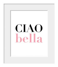 Italian-Ciao Bella-Romantic-Hello Beautiful-Customize Colors. $20.00, via Etsy.