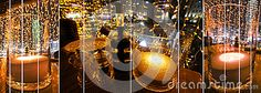 A stripped collage of a wide angle view of romantic restaurant table