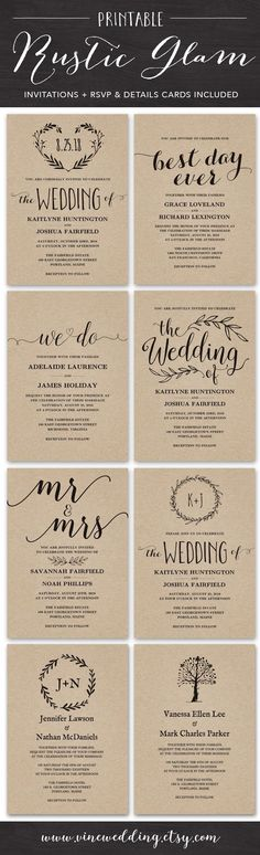 Rustic Wedding Invitations. Printable DIY Wedding Invitation. #wedding #invitations #rustic #invitation #kraft #paper #diy #printable #vinewedding
