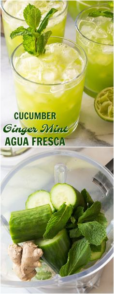 """Cucumber Ginger Mint Agua Fresca Recipe - A refreshing """"mocktail"""" nonalcoholic beverage recipe with lime juice, cucumbers, mint leaves, and fresh ginger. Add vodka or tequila to kick things up for perky summer cocktail! via drinks nonalcoholic Cucumber Cocktail, Cucumber Drink, Cucumber Recipes, Fresh Juice Recipes, Cucumber Mint Juice Recipe, Ginger Cucumber Lemon Water, Recipes With Fresh Mint, Recipes With Ginger, Ginger Drink Recipe"""