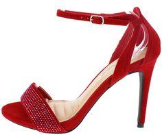 SUGARLOVE11 RED SUEDE WOMEN'S HEEL ONLY$10.88