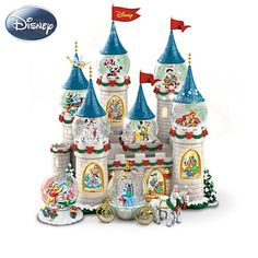 """Disney's Christmas At The Castle Snowglobe Collection /  8 miniature snowglobes with Disney characters and illuminated castle display that plays 8 songs. Editions limited to 120 crafting days. Snowglobes measure 2-1/2"""" H to 4"""" H; Full display stands 11-1/2"""" H"""