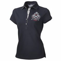 The Pikeur Debora is a classic ladies polo shirt, with contrasting seams and contrasing trim under the placket. Made from a Cotton Pique fabric, it has a Pikeur logo design embroidered on the left of the chest, short sleeves and press studs to close.    - See more at: http://www.dressagedeluxe.co.uk/Shop.asp?viewmode=vp&pid=2717#sthash.tNl7ozhp.dpuf  #dressagedeluxe #Pikeur