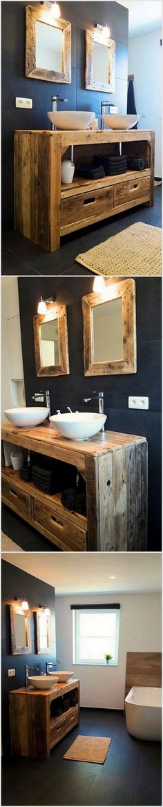 You can make bathroom furniture by using old shipping wood pallets. You can adorn your bathroom with these lovely pallet wood projects. #palletprojects