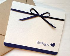 Nautical and Navy Thank You Heart Cards Navy Blue Wedding Thank You Card  Navy Blue Satin Ribbon by hmacdo, $20.00 <3
