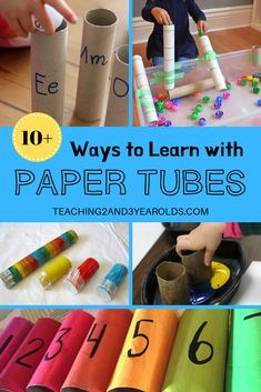 This collection of 10+ toilet paper roll activities is easy on the budget and build multiple skills. Kids love them! #recycling #papertubes #art #literacy #finemotor #math #sensory #largemotor #toddlers #preschool #age2 #age3 #teaching2and3yearolds