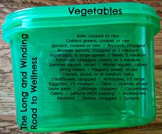 Green Container: Vegetables #21DayFix (>1 Cup) http://coachcrystalp.blogspot.ca/2015/06/21-day-fix-food-list.html