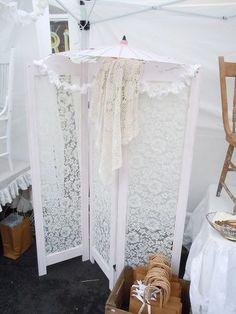 Folding Screen With Lace Room Divider.
