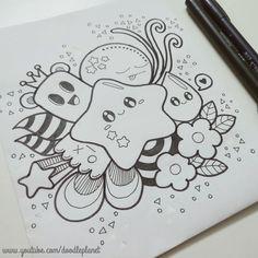 Cute Doodles Drawings, Cute Doodle Art, Doodle Art Designs, Doodle Art Drawing, Mini Drawings, Cute Easy Drawings, Art Drawings Beautiful, Kawaii Doodles, Art Drawings Sketches Simple