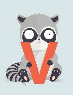 Køb en bogstavplakat med V for vaskebjørn fra Bogstavzoo