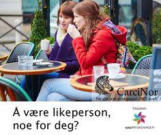 """Å være likeperson, noe for deg? CarciNors blogg - """"Likepersonsarbeidet i CarciNor er kanskje det viktigste vi driver med i foreningen. At vi som er rammet av NET-kreft kan være til hjelp og støtte for andre som er kommet i samme situasjon er helt grunnleggende for vår aktivitet. Les mer https://carcinor.wordpress.com/2015/08/21/likepersonkurs-i-carcinor/#more-457"""