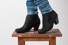 Black Leather Booties / Women Leather Shoes by EllenRubenBagsShoes
