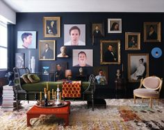 Loving all the textures going on here and the large portraits taking up the entire wall