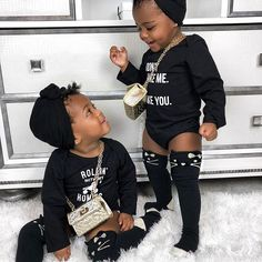 Caption this 💁🏽♀️ Gianni: Why are you standing up? Giselle: Because you can't see my outfit sitting down! Cute Black Baby Boys, Beautiful Black Babies, Cute Baby Boy, Beautiful Children, Cute Babies, Baby Girls, Black Kids Fashion, Cute Kids Fashion, Babies Fashion