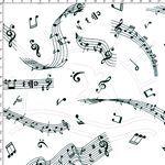 Tecido Estampado para Patchwork - Notas Musicais 02  (0,50x1,40)