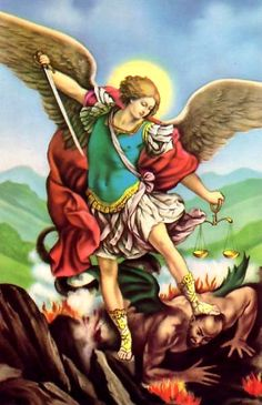 Michael, the Archangel Of God defeating our biggest enemy, Satan! He is powerless and defeated because of the blood of the Lamb that takes away the sins of the world!