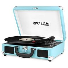 Victrola 3-Speed Bluetooth Suitcase Turntable with built in Stereo Speakers Turquoise : Target