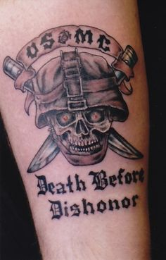 usmc-death-before-dishonor-marine-corps-tattoo Army Tattoos, Military Tattoos, Badass Tattoos, Life Tattoos, New Tattoos, Body Art Tattoos, Cool Tattoos, Tatoos, Awesome Tattoos