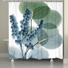 Lily and Eucalyptus Leaf X-Ray Shower Curtain