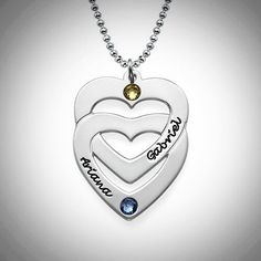 Sterling Silver Intertwined Hearts Birthstone Necklace