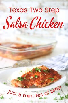 """We always called this salsa chicken """"Texas Two Step Chicken"""". It's quick, easy, and just 5 minutes of prep! Salsa Chicken, Chicken Wings, Appetizer Recipes, Dinner Recipes, Easy Family Dinners, Winner Winner Chicken Dinner, Create A Recipe, Baked Chicken Breast, Big Meals"""