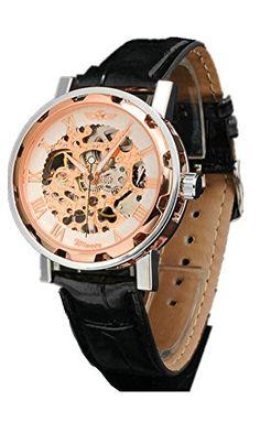 DAYAN Coole WINNER Unisex Black Leather Stilvolle Weiß Skeleton Vorwahlknopf-Hand-Wind Up Lässige Mechanical Wrist Watch - http://autowerkzeugekaufen.de/dayan/dayan-high-quality-curren-maenner-uhren-aus-alloy-9