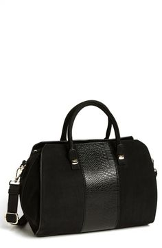 Black Snake Embossed Faux Leather Satchel