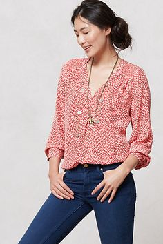 I like the colors and pattern of this blouse- can dress it up or down with ease! Canela Blouse by Kachel Pretty Outfits, Cute Outfits, Blouse Outfit, Work Blouse, Get Dressed, Casual Chic, Style Me, Womens Fashion, Fashion Trends