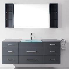 "Virtu Ultra Modern Series 59"" Single Bathroom Vanity Set with Mirror | AllModern"