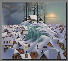 Ice home - lovely wintry townscape - Jacek Yerka