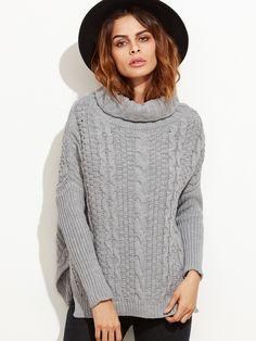 Shop Grey Cable Knit Turtleneck High Low Sweater online. SheIn offers Grey Cable Knit Turtleneck High Low Sweater & more to fit your fashionable needs.