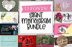 Big Monogram Bundle - 10 of my Best Selling Monogram Packs! #fontbundle #cricutfonts #silhouettefonts #monogramfont #monogrambundle #monogramfonts #handlettered #monograms #otf #ttf