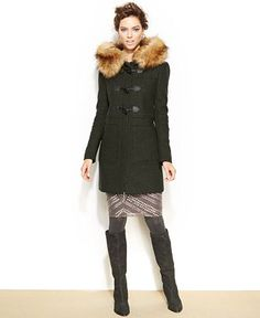 BCBGeneration Faux-Fur-Trimmed Toggle Duffle Coat - Coats - Macy's, Loden, M