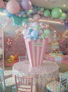 2 Birthday, Candy Theme Birthday Party, 1st Birthday Party For Girls, Carnival Birthday Parties, Candy Party, Birthday Balloons, Birthday Party Decorations, Party Time, Pastel