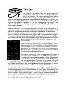Some info on the Eye of Horus Egyptian Mythology, Egyptian Symbols, Ancient Symbols, Ancient Egypt, Mayan Symbols, Viking Symbols, Viking Runes, Ancient Aliens, Ancient Artifacts
