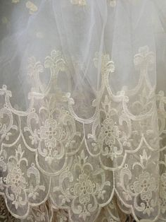 Off White Bridal Lace Fabric  Retro Embroidered Lace by lacetime, $24.90