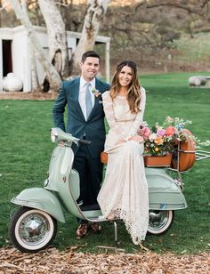 wedding boho hipster bride and groom on a vintage vespa portraits