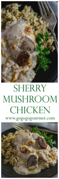 My go- to weeknight meal! It takes less than 10 minutes to put together, then bakes in the oven while you start your evening! The sauce is LUSCIOUS!  Sherry Mushroom Chicken | Go Go Go Gourmet @gogogogourmet